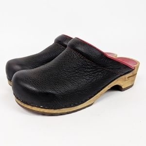 Sanita Danish Clog Brown Leather Red Trim 10 40